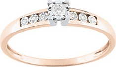 4.solitaire accompagné or rouge rose 18K diamant